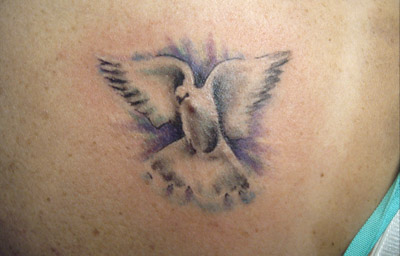 136ec12a6 Tiny Red HEart And Flying Dove Christianity Tattoo On Arm