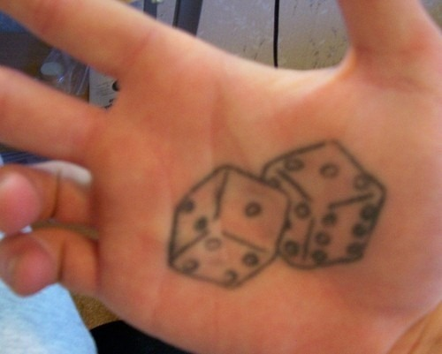 Grey Ink Dice Tattoos On Palm