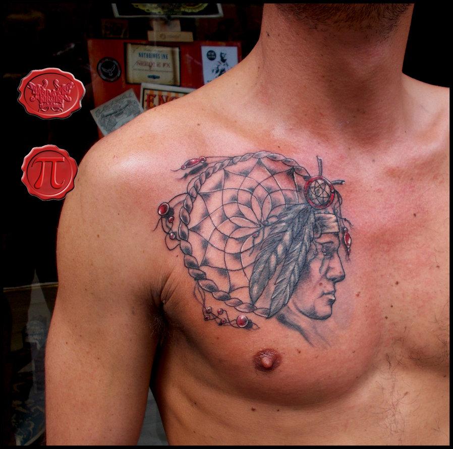 Dreamcatcher tattoos for men on chest