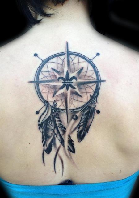 Grey Ink Dreamcatcher Tattoo On Upperback
