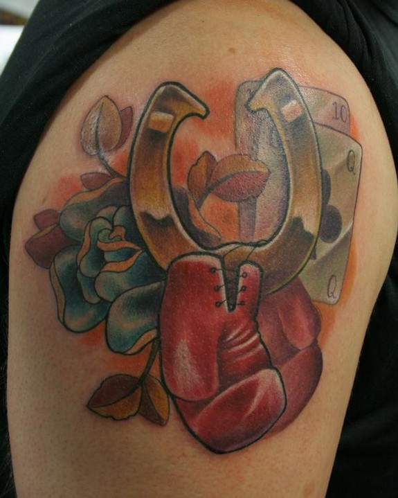 Horse Shoe And Dice Tattoo On Shoulder