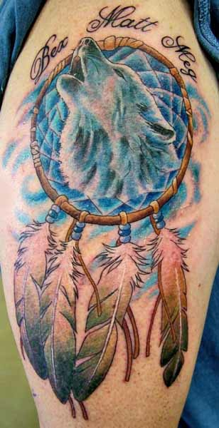 Howling Wolf Head And Dreamcatcher Tattoo Awesome Wolf Head Dream Catcher