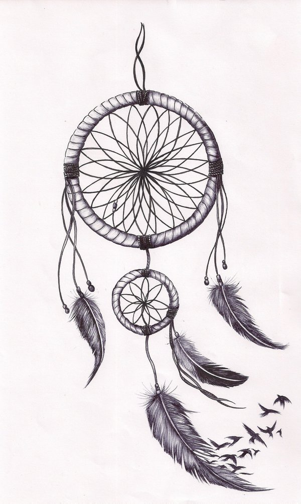 Impressive dreamcatcher tattoos design