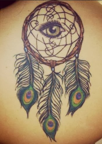 Peacock Feathers Dreamcatcher Tattoo On Back Adorable Feather Dream Catcher Tattoos