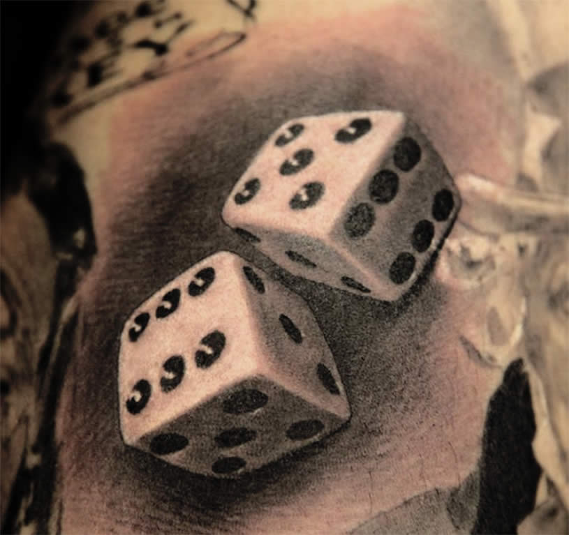 Realistic Grey Ink Dice Tattoos
