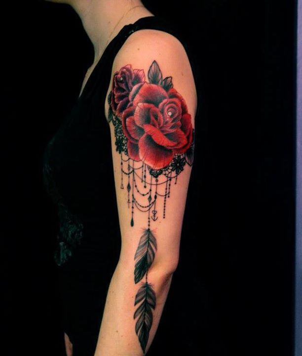 Red Rose and Dreamcatcher Tattoo On Left Shoulder
