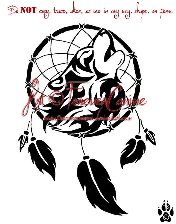 Wolf Head And Dreamcatcher Tattoo Design Inspiration Wolf Head Dream Catcher