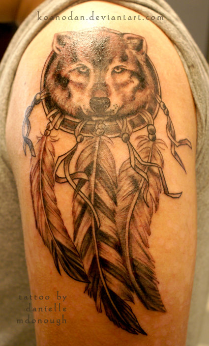 Wolf Head And Dreamcatcher Tattoo On Half Sleeve Adorable Wolf Head Dream Catcher