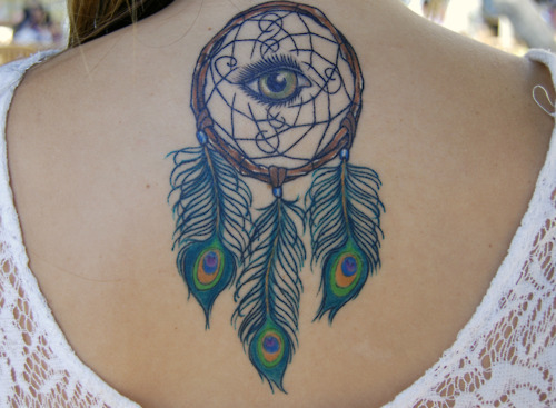 Wonderful Grey Ink Dreamcatcher Tattoo On Upperback