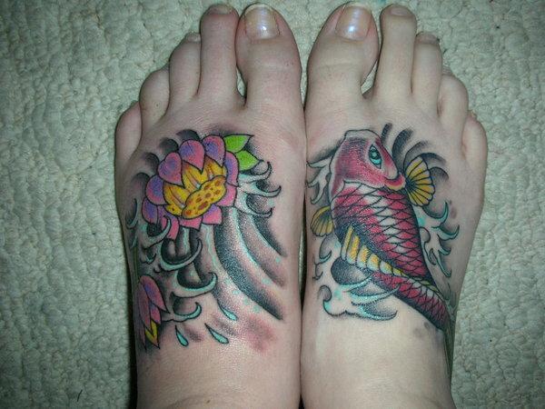Left Foot Lotus Flower Tattoo