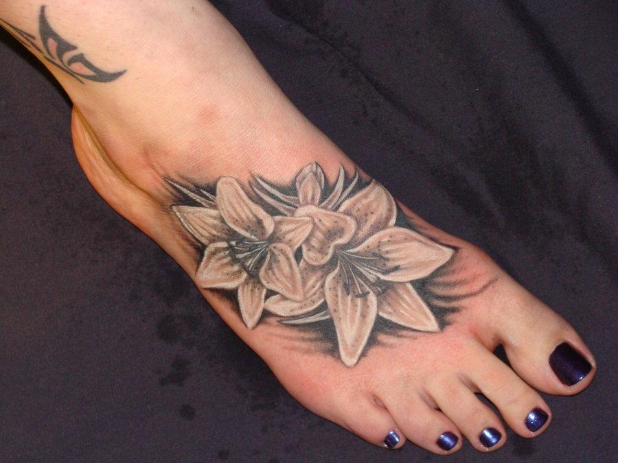 White Flowers Feet Tattoo