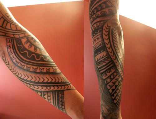Amazing Grey Ink Filipino Tattoos On Sleeve