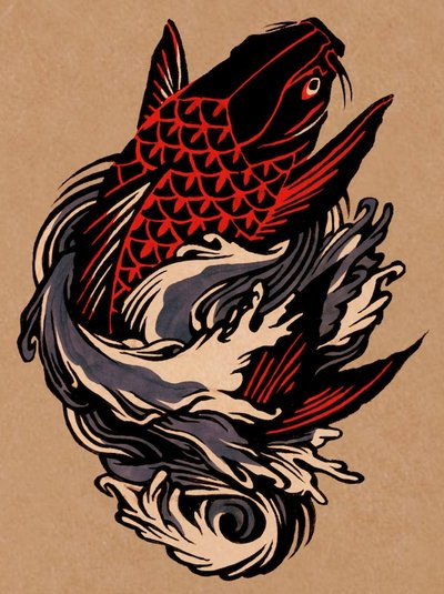 Colored Koi Fish Tattoo Design