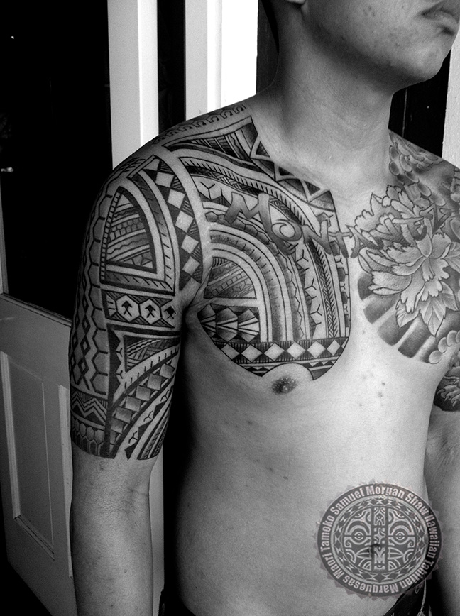 filipino tribal tattoo on man chest and right half sleeve. Black Bedroom Furniture Sets. Home Design Ideas