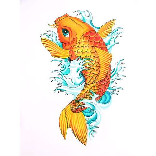 Color Ink Orange Fish Tattoo Design