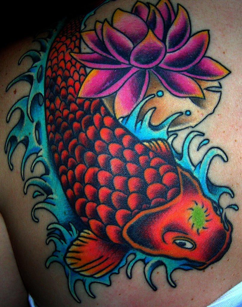 Color Lotus Tattoo On Shoulder