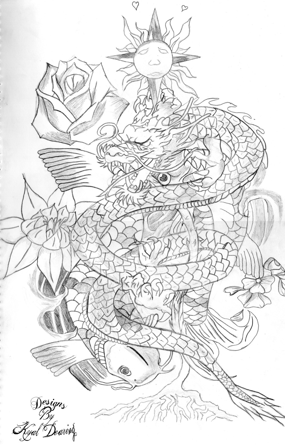 Dragon koi fish tattoo design colored dragon and flowers fish tattoo design izmirmasajfo Images