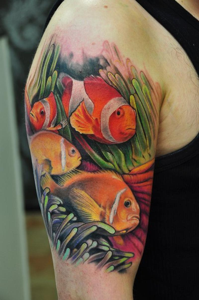 Colored Koi Fish Tattoo On Legs