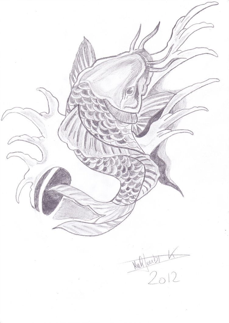 Grey koi fish tattoo for Grey koi fish