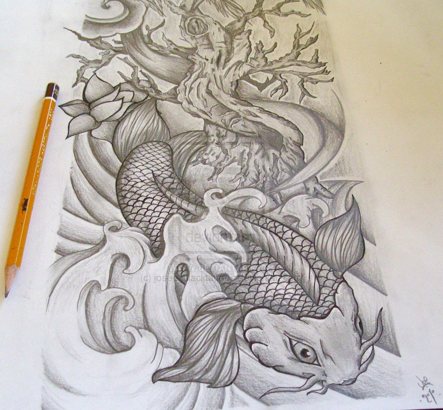 Sketch For A Japanese Sleeve: Grey Ink Koi Fish Tattoos Designs