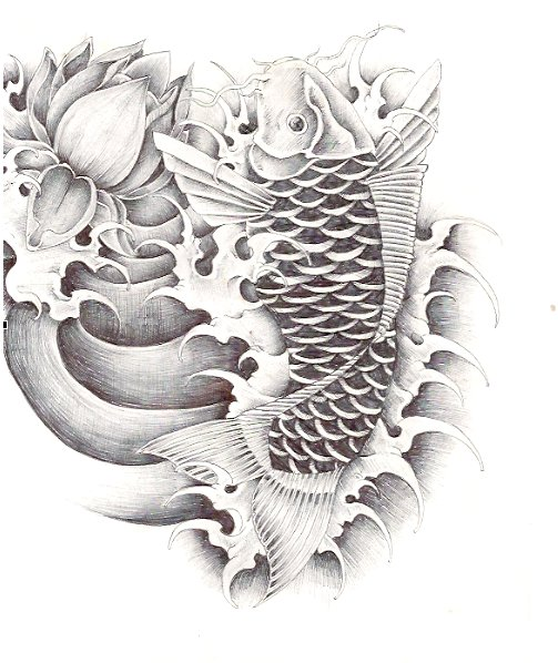 Lotus Flower And Coy Fish Tattoo Design