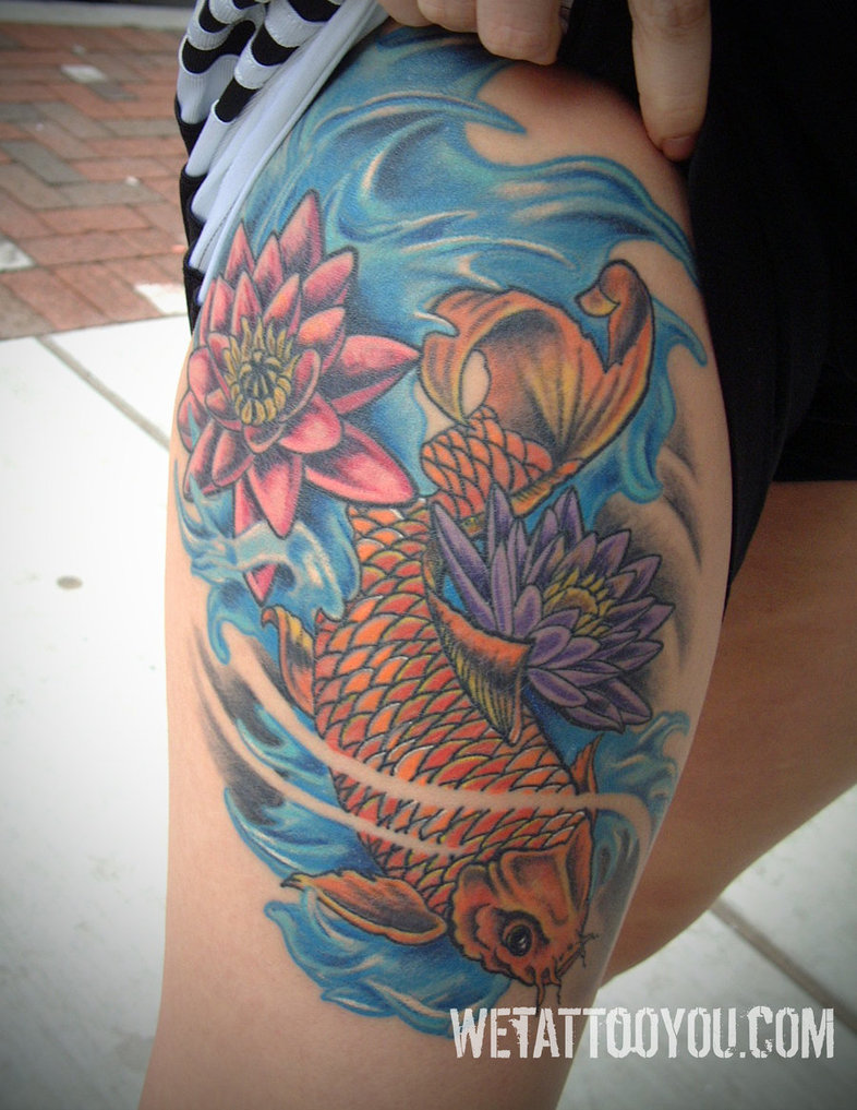 Lotus Flower And Fish Tattoo
