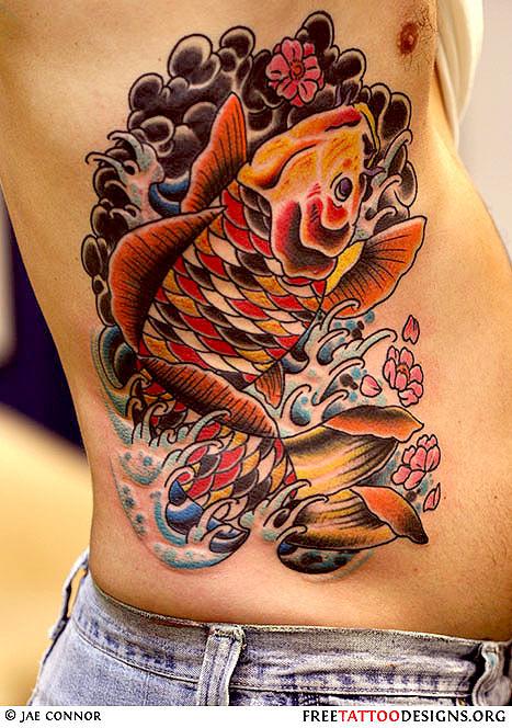 Fish tattoo images designs for Orange and black koi