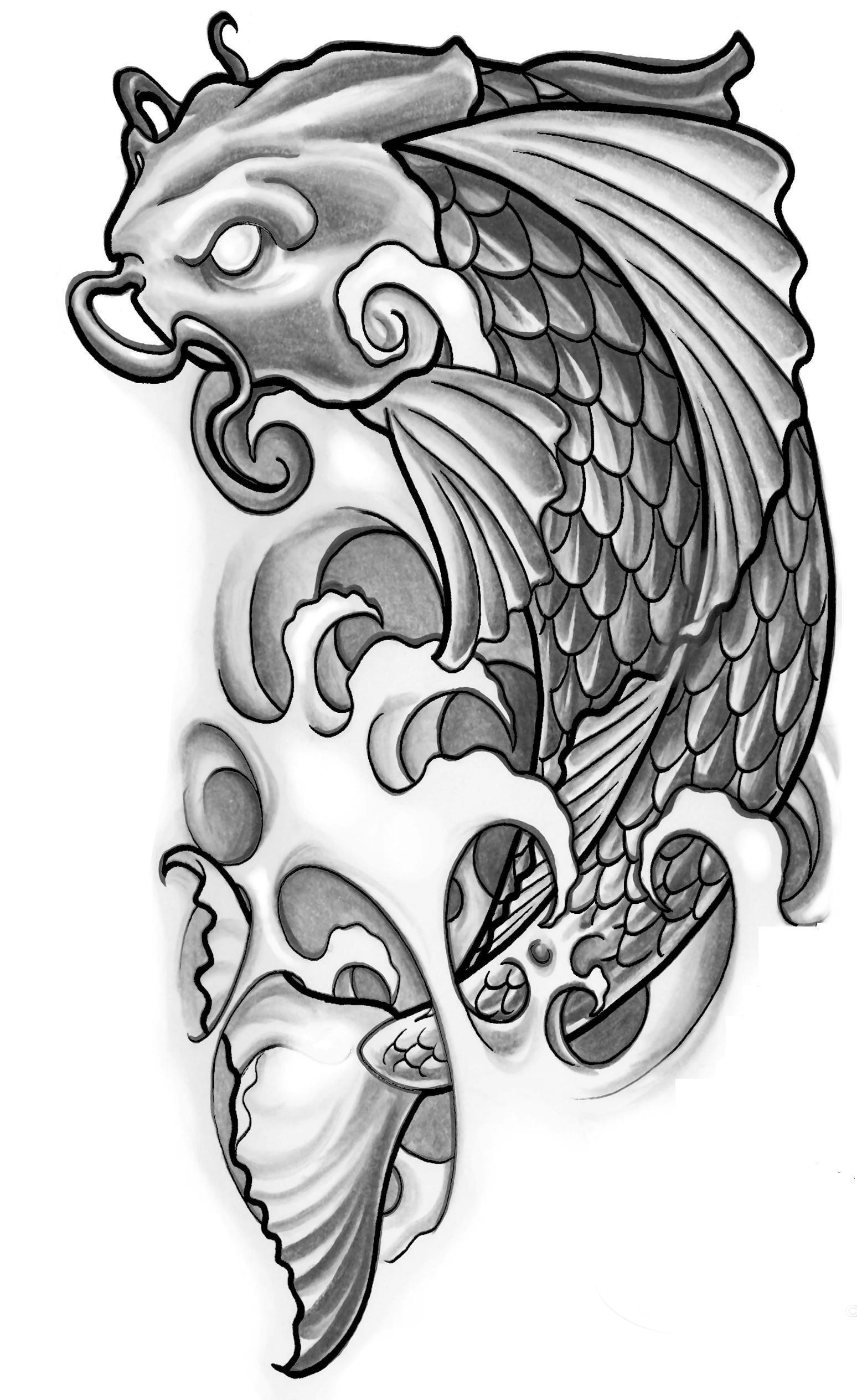 Wonderful koi fish tattoo design wonderful grey ink fish tattoo design izmirmasajfo