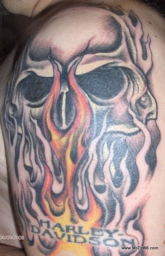 Harley tattoo images designs for Harley skull tattoos