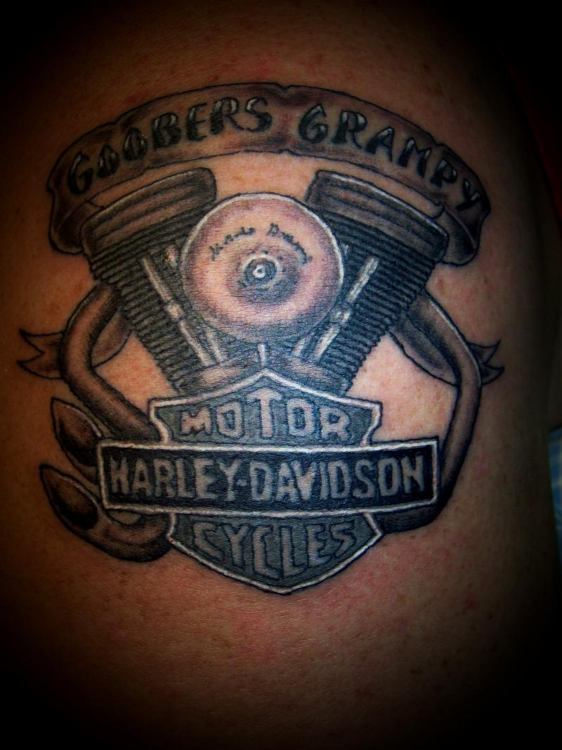 Amazing Harley Tattoo On Man Left Shoulder