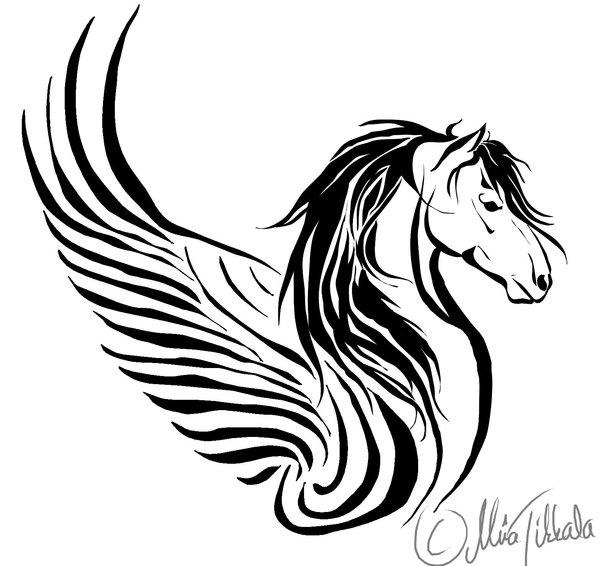 Black Tribal Horse Head Tattoos Design