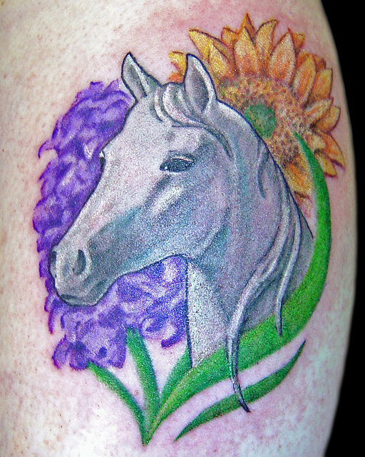 color flowers and white horse head tattoo. Black Bedroom Furniture Sets. Home Design Ideas