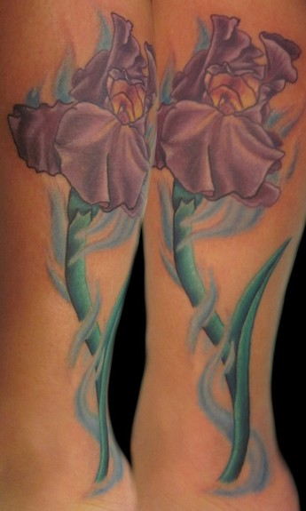 purple iris tattoo design. Black Bedroom Furniture Sets. Home Design Ideas