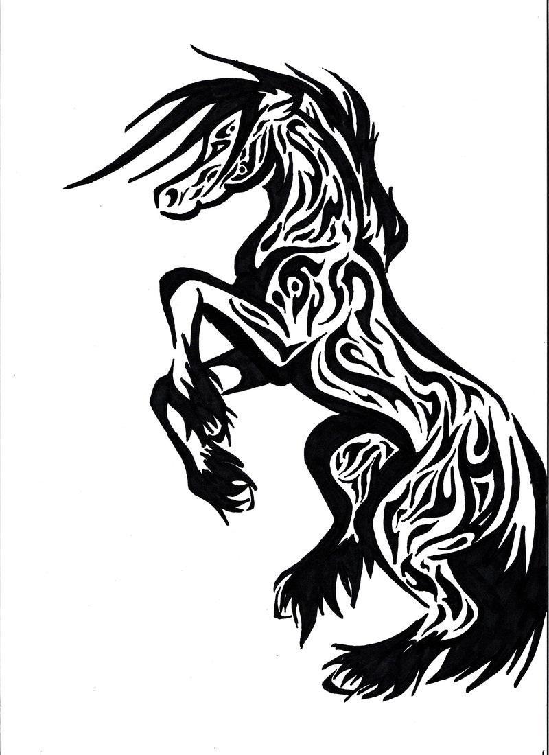 Black Ink Tribal Horse Tattoo Design