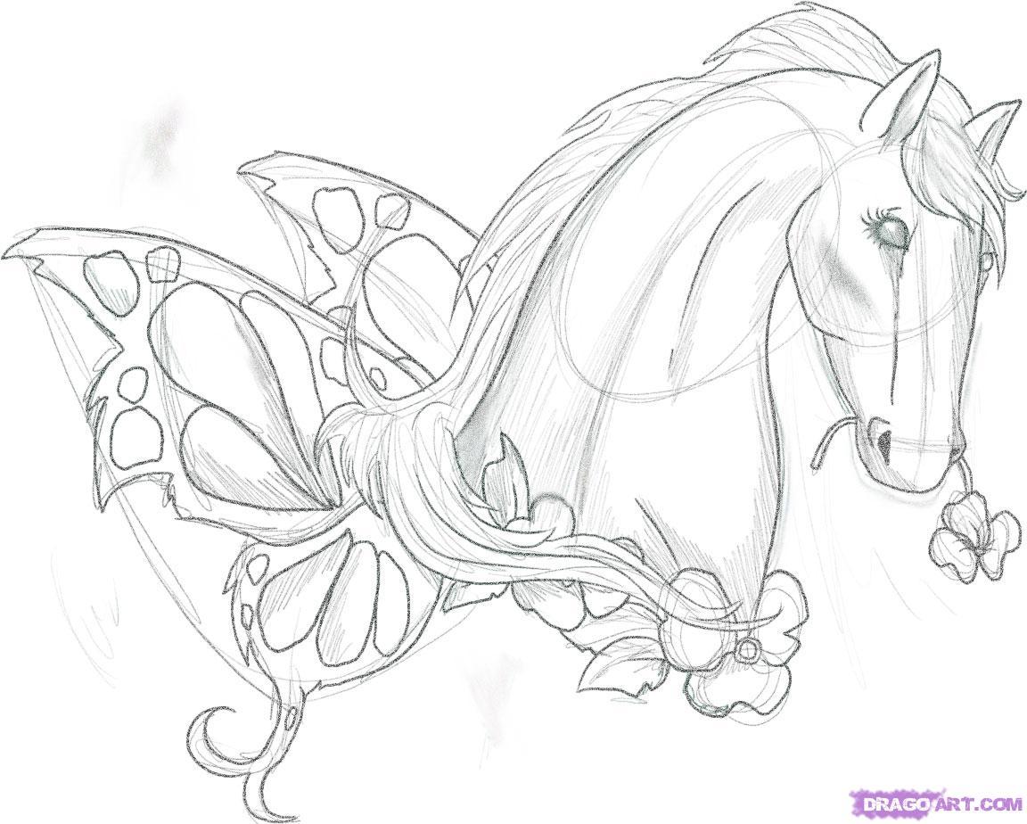 4eda14be3c5ef Flowers and Horse Head Tattoo Design