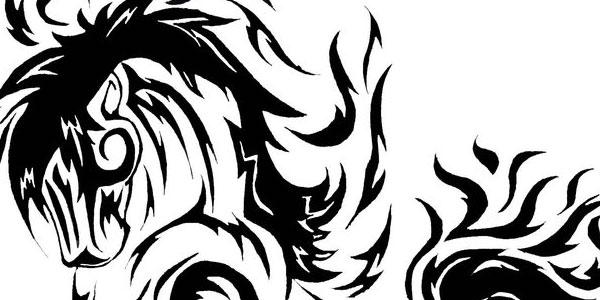 Good Black Tribal Horse Tattoo Design