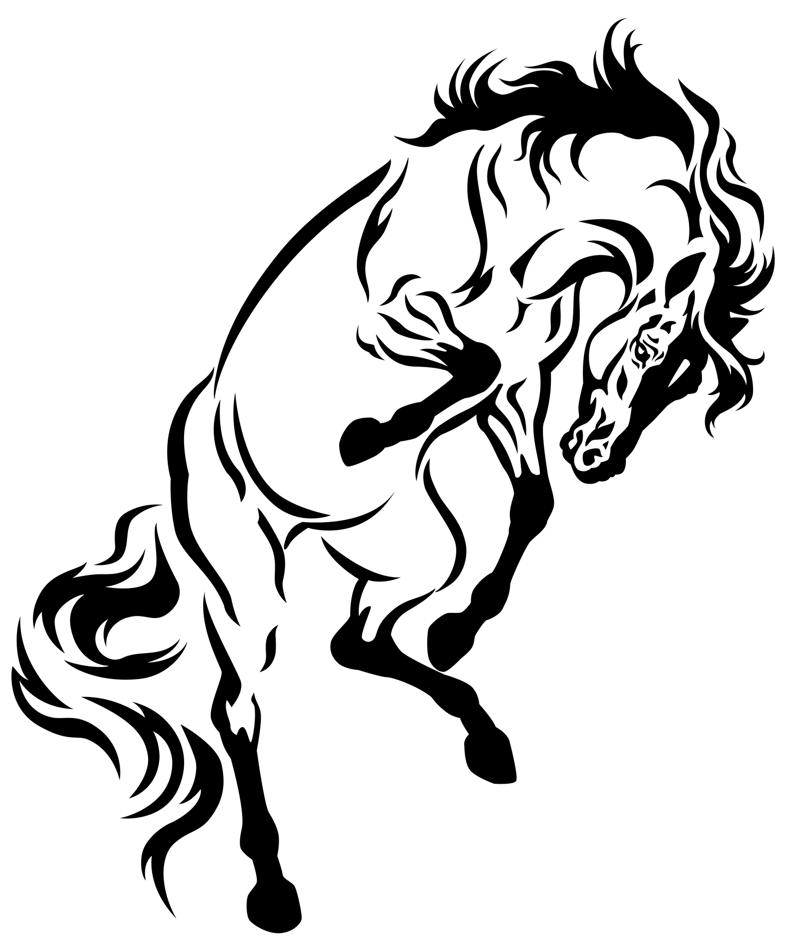great black tribal horse tattoo design. Black Bedroom Furniture Sets. Home Design Ideas