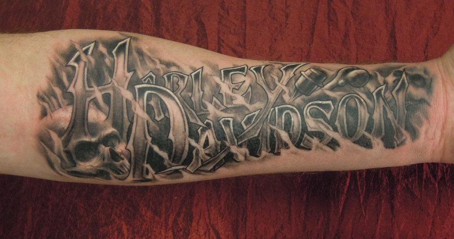 f173a229a Grey Ink Harley Tattoo On Man Right Arm