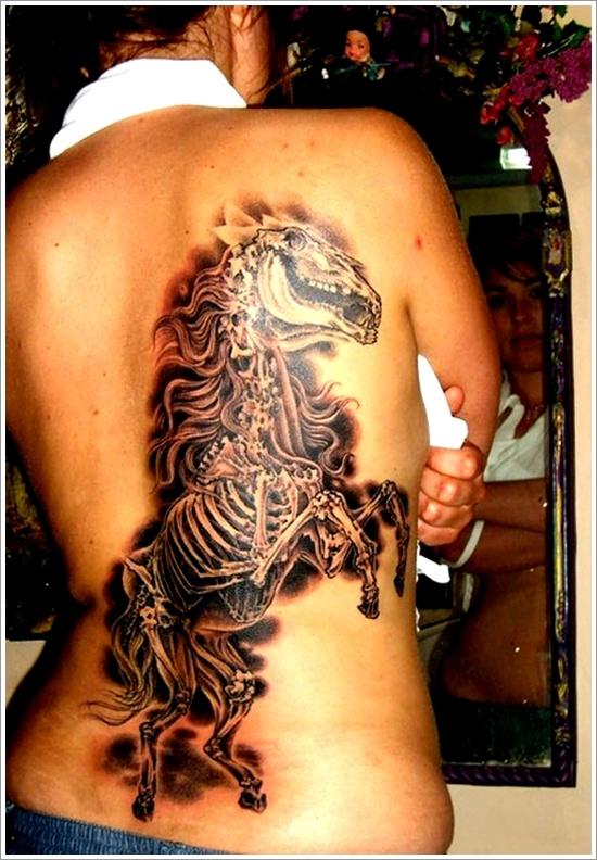 5d8b4936a5fcc Back Body Horse Skeleton Tattoo