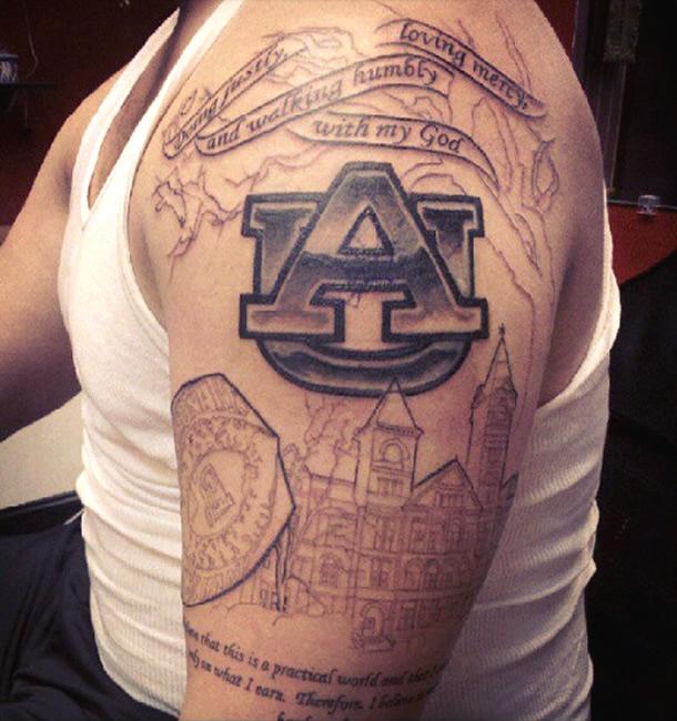 Man Left Half Sleeve Football Tattoo