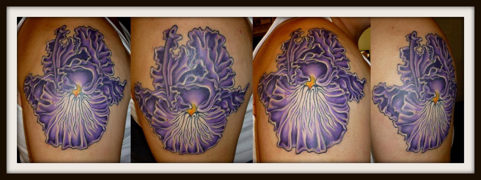 left shoulder purple iris tattoo. Black Bedroom Furniture Sets. Home Design Ideas