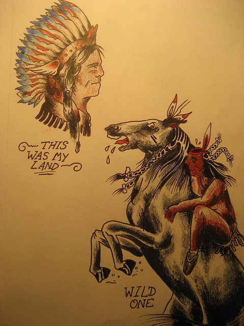 native head and horse tattoo design. Black Bedroom Furniture Sets. Home Design Ideas