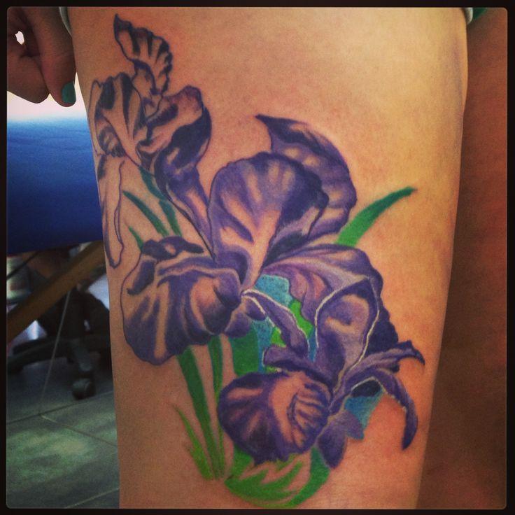 purple flowers iris tattoo on right thigh. Black Bedroom Furniture Sets. Home Design Ideas