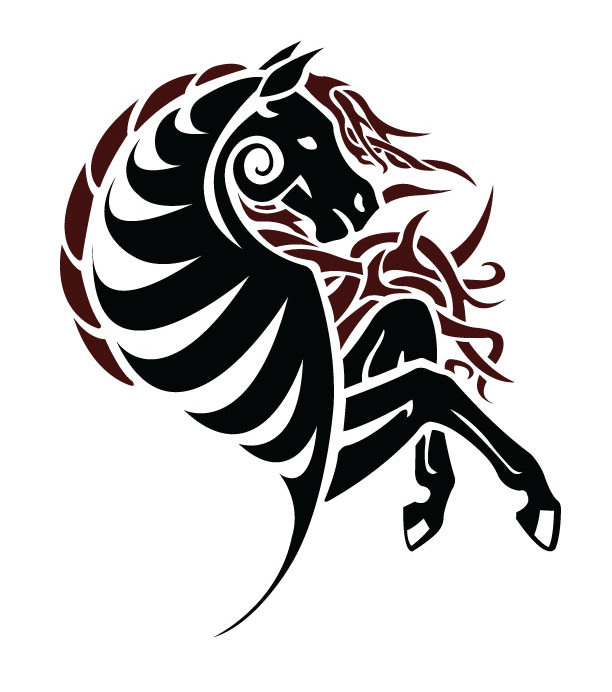 Horse tattoo images designs for Easy tribal tattoos