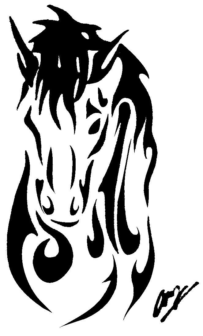 Running Horse Tattoo Design Tribal Horse Tattoo Design