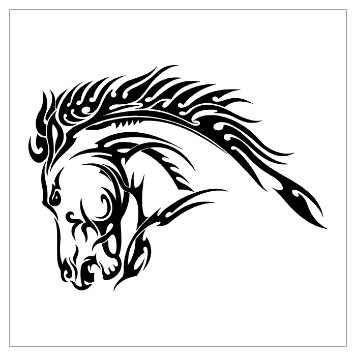 Tribal Horse Head Tattoo Design
