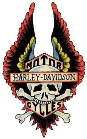 0add3bed8 Winged Danger Skull Harley Tattoo Design