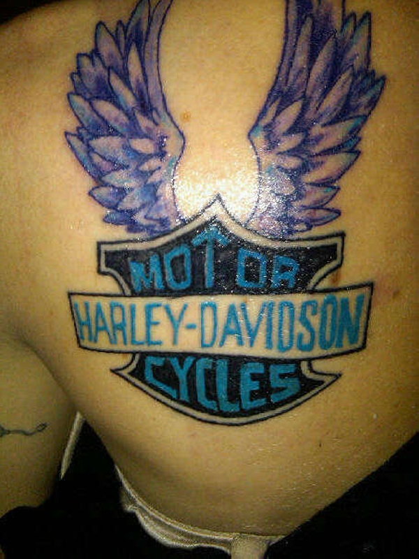 8eb406062 Winged Motor Harley Tattoo On Back Shoulder