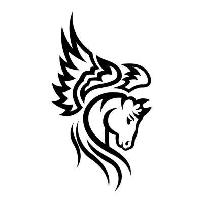 Flame Tribal Horse Tattoo Design