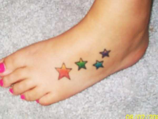 Friendship Stars Tattoo On Foot